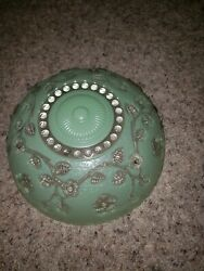 Vintage Green &  Clear Glass Ceiling Light Cover-3 Holes 10