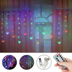 LED Butterfly String Curtain Lights Colorful Fairy Wedding Party Decor Lamp USB $15.97
