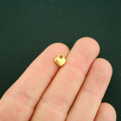 20 Heart Antique Gold Tone Charms 2 Sided GC1186 $3.99