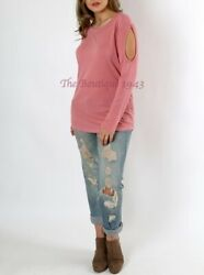 WOMENS PLUS SIZE LIGHTWEIGHT DUSTY ROSE CUT OUT LONG SLEEVE SWEATER $12.95