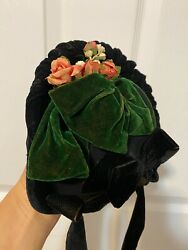 ANTIQUE Black Green Velour HAT BONNET for French or German DOLL head 12-14