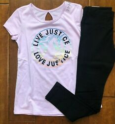 NWT JUSTICE GIRLS 8 OUTFIT LAVENDER UNICORN GRAPHIC TEE BLACK LEGGINGS $19.99