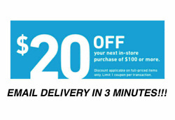THREE 3x Lowes $20 OFF $100Coupons-INSTORE ONLY -Fast-Delivery-- $3.99