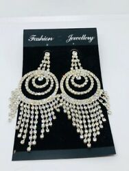 Extra Large Bling Chandelier Earrings w 4quot; Drop A Total Stunner $12.99