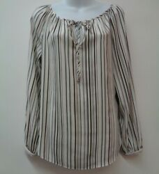 White House Black Market 4 Brown Top Shirt Blouse Tie Neck Stretch Small Womens  $16.99