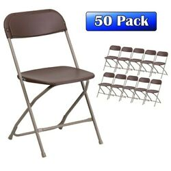 50 Pack Brown Plastic Folding Chair TentAndTable Commercial Wedding Party Chairs