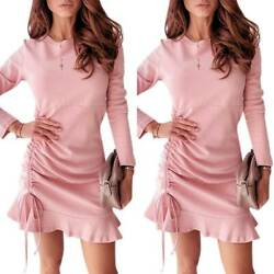 Womens Long Sleeve Ruffle Bodycon Mini Dress Frill Drawstring Slim Party Dresses $17.95