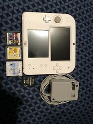Nintendo 2DS Launch Edition 4GB White & Red Handheld System with 3 games $30.00