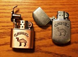 2 Camel refillable Lighters Copper color Trench & pewter color Flip never used