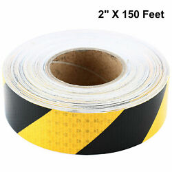2#x27;#x27; x 150FT Yellow Black Striped Reflective Tape Safety Caution Waterproof Tape $17.99