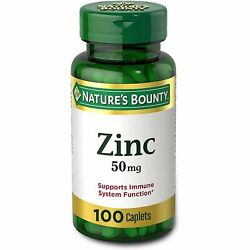 Nature#x27;s Bounty Zinc 50 mg 100 Caplets Non GMO Supports Immune System Function $9.99