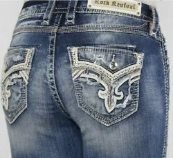New Rock Revival Mertie Mid Rise Easy Straight Stretch Jeans Woman Size 32 Nice $79.99