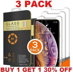 3 PACK For iPhone 12 11 Pro Max XR X XS 8 7 Plus Tempered GLASS Screen Protector $5.99