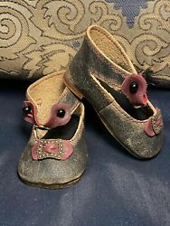 Distressed BLACK LEATHER 3.5quot; SHOES ANTIQUE for French Jumeau Bebe German DOLL $45.00
