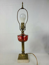 Vintage Clear Red Glass Table Lamp Brass with Marble Base NO SHADE $52.46