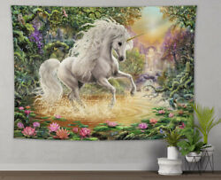 Fairytale Unicorn Magic Forest Lotus Tapestry Wall Hanging Living Room Bedroom $15.99