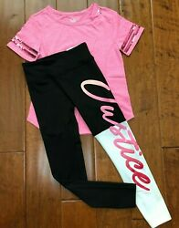 NWT JUSTICE GIRLS 8 10 OUTFIT PINK SEQUIN FOOTBALL TEE OMBRE LOGO LEGGINGS $27.50