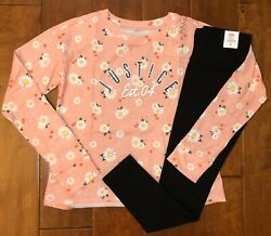 NWT JUSTICE GIRLS 8 10 12 OUTFIT CORAL LOGO LONG SLEEVE TEE amp; BLACK LEGGINGS $21.50