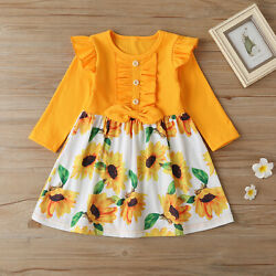 NEW Sunflower Girls Long Sleeve Yellow Dress 2T 3T 4T 5T 6 $10.99