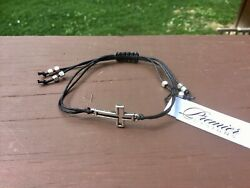 PREMIER DESIGNS Black amp; Silver Adjustable CROSS Bracelet New with Tags $10.99