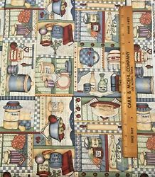 Country Kitchen By Yard Cranston Cotton Fabric Baskets Jars Baking Quilt Curtain $7.29