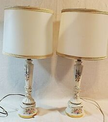 Pair of Vintage Paul Hanson Table Lamps Shades Ceramic Floral Gold Hand Painted $99.00