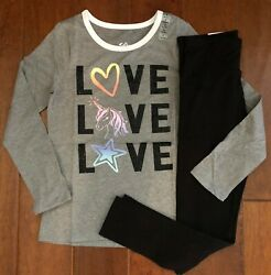 NWT JUSTICE GIRLS 8 OUTFIT UNICORN HEART STAR GLITTER TEE BLACK LEGGINGS $19.99