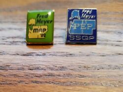 VINTAGE FRED MEYER STORE EMPLOYEE PINS X 2 $9.95