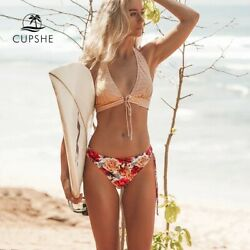 Cupshe Bikini Pretty Floral and Striped Sweet Memories Tied Bow Halter Sexy XS $17.49