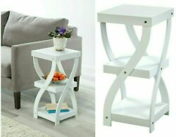 Twisted Side Table White Wood 3 Tier Sofa Modern Table $33.39