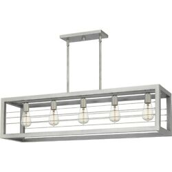 Quoizel Awendaw Linear 5 Light Chandelier Antique Nickel AWD540AN $599.99