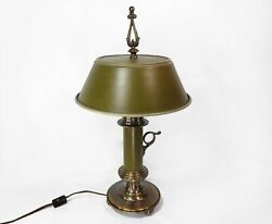 Rare Vintage Tell City Antique Green Table Lamp Enamel Lampshade $120.00