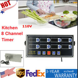 8Channel Digital Timer 110V Kitchen Commercial Countdown Calculagraph Ring Alarm