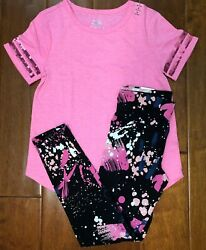 NWT JUSTICE GIRLS 8 10 12 OUTFIT PINK SEQUIN FOOTBALL TEE SPLATTER LEGGINGS $23.50