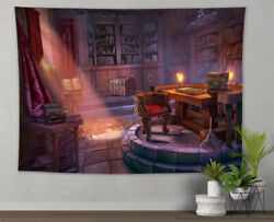 Sunset Wizard Tower Library Bookshelf Tapestry Wall Hanging Living Room Bedroom $15.99