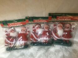 Vtg 3 Santa And Mrs. Claus Christmas Flocked Decor Figurines NIP $30.00