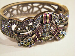 Heidi Daus Clamper Bracelet Crystals Encrusted Burst of Bling Brass NWOT $109.75