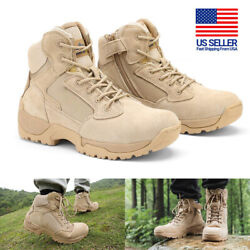 Mens Leather Zip Military Tactical Boots Motorcycle Combat Ankle Hiking Boots US $44.99