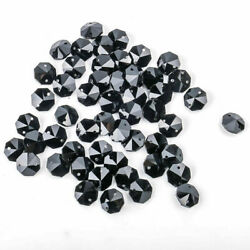 50pcs Black Crystal Faceted 2 Hole Octagon Chandelier Parts Glass Beads 14mm $8.09