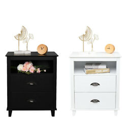Nightstand End Table Wood With 2 Storage Drawers Bedroom Bedside Table Stand $74.49