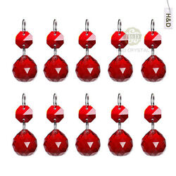 10 Red Chandelier Glass Hanging Crystal Ball Prism Feng Shui Drops Pendants 20mm $13.49