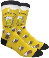 DONT WORRY BEER HOPPY Mens Novelty Socks Yellow Fine Fit NWT $9.98