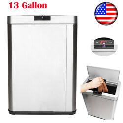 13 Gallon 50L Automatic Trash Can Sensor Touchless Kitchen Bin Stainless Steel $73.59