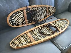 Vintage Snowshoes 36quot; x 10quot; Rawhide Leather Wood GREAT CABIN DECOR $95.00