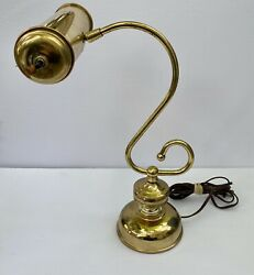 Heyco Brass Banker#x27;s Piano 1960s Classic Desk Lamp w S Curve Body Student $49.89