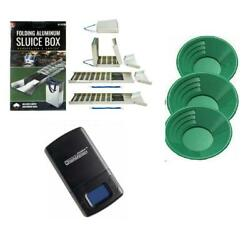 50quot; Folding Aluminum Sluice Box 3 Green Gold Pans amp; FREE Digiweigh Pocket Scale $109.95