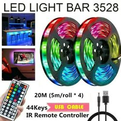 65FT Flexible 3528 RGB LED SMD Strip Light Remote Fairy Lights Room TV Party Bar $16.59
