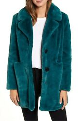 Sam Edelman Deep Green Long Faux Fur Jacket size M NDS111 $39.99