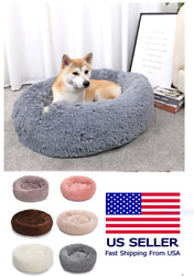 Luxury Pet Dog Beds Round Houses Long Wool Puppy Kennel Kitten Washable Cushion $9.99