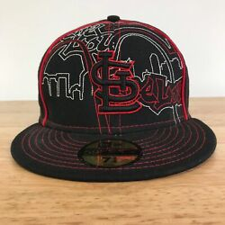 NEW ERA ST. LOUIS CARDINALS LOGO BLACK ARCH CITYSCAPE FITTED BASEBALL HAT 7 1 2 $10.39